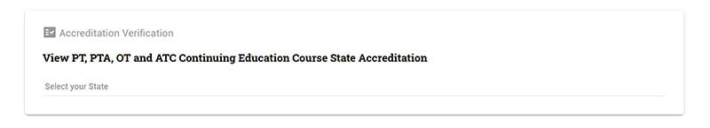 description of accreditation pulldown menu on each online course page